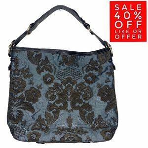 Liz Claiborne Blue Velvet Floral Purse Shoulder